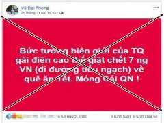 7 công dân tử vong ở biên giới Việt - Trung là tin đồn sai sự thật