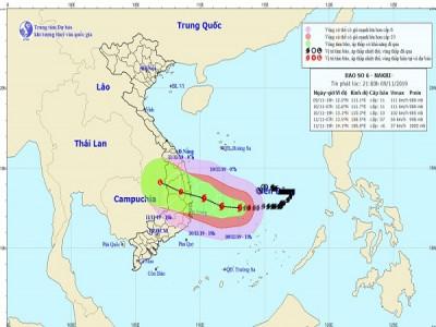 Bão số 6 giật cấp 14 vẫn đang hướng về Quảng Ngãi, Khánh Hòa