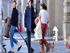 Katie Holmes và con gái Suri kéo vali rời khỏi New York để tránh dịch