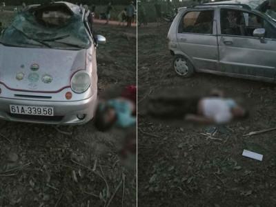 Bình Dương: Ô tô Daewoo Matiz lật nhiều vòng, 5 người bị hất văng ra ngoài và thương vong