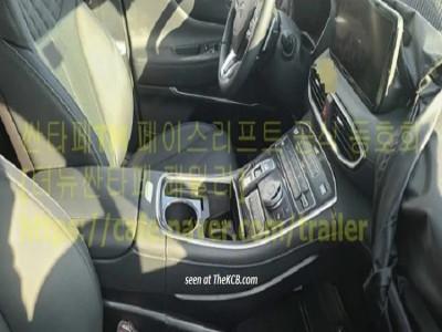 Hyundai Santa Fe 2021 tiếp tục bị lộ thiết kế nội thất với màn hình mới và nút bấm chuyển số