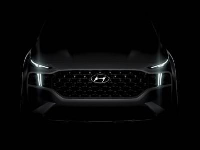 Hyundai Santa Fe 2021 được hé lộ thiết kế đầu xe ấn tượng trước ngày ra mắt