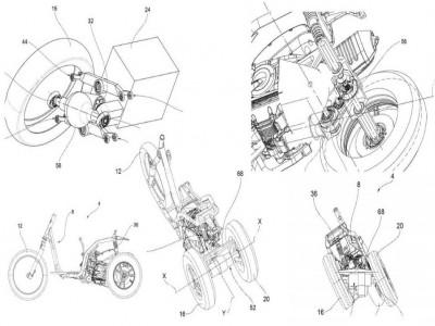 Piaggio phát triển xe 3 bánh mới với thiết lập bánh chuyển hướng trước và 2 bánh sau