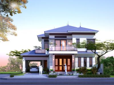 Thiết kế biệt thự 2 tầng thoáng đãng, sang trọng ở ngoại thành Hà Nội