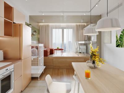Thiết kế nội thất sắc màu tươi vui trong căn hộ 46m2