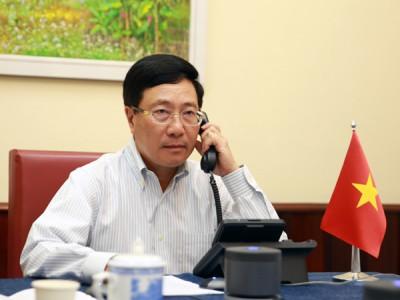 Phó Thủ tướng, Bộ trưởng Ngoại giao Phạm Bình Minh điện đàm với Ngoại trưởng Hoa Kỳ