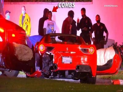 Bị ô tô Tesla tông trúng, siêu xe Ferrari 488 Spider của con trai rapper P Diddy hỏng nặng