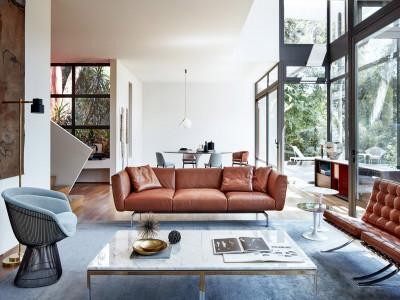 Phòng khách Mid-century tập trung vào công năng, sự thoải mái
