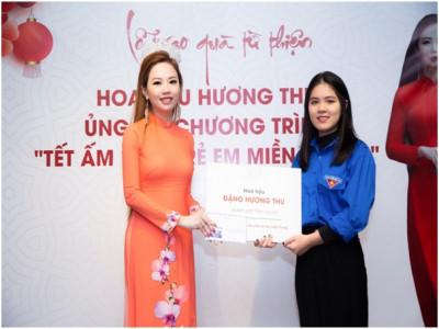 Hoa hậu Hương Thu đẹp dịu dàng trong lễ trao quà từ thiện đầu xuân Tân Sửu 2021