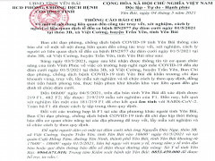 Yên Bái: Xét nghiệm âm tính lần một đối với 181 F1 liên quan đến BN2977 ở Vĩnh Phúc dự đám cưới tại xã Việt Cường