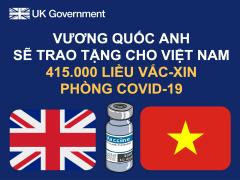 Vương quốc Anh sẽ trao tặng 415.000 liều vắc-xin phòng COVID-19 cho Việt Nam