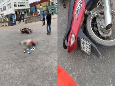 Video: Va chạm với xe container trong Khu công nghiệp Đình Vũ, người đàn ông đi xe máy tử vong